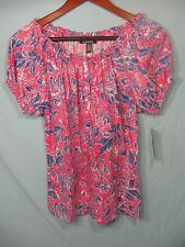 NWT Chaps by Ralph Lauren Women's Pink and Blue Floral Button Neck Top