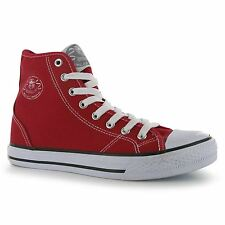 Dunlop Womens Canvas Shoes High Top Trainers Red Flats Plimsole