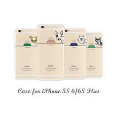 New Lovely Famous Dogs Clear Soft TPU Phone Case Cover for iPhone 5S 6 6S 7 Plus