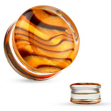 PAIR Amber Pattern Inlaid Clear Acrylic Double Flare Saddle Plugs Earlets Gauges