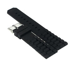1pc Mens Black Silicone Rubber Military Diving Watch Band Strap For Fossil Nate
