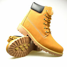 Mens Combat Lace up Ankle Boots Hi Top Military Cadet Shoes Black Tan Yellow