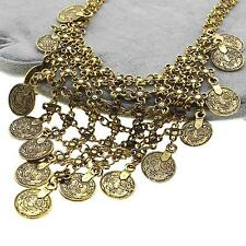 Womens Ladys Coin Flower Long Tassel Pendant Sweater Necklace Holiday Xmas Gift