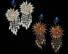 """STUNNING SET OF 2 GOLD or PEARLS w/GOLD STARBURST w/DANGLES 5"""" BEADED ORNAMENT"""