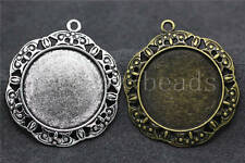 New 2/8/40pcs Tibetan Silver Cameo Cabochon Base Setting Jewelry Charms 39x34mm