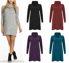 NEW WOMENS BAGGY MINI DRESS LADIES COWL NECK KNITTED LONG SLEEVE OVERSIZE TOP