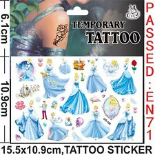 Kids Temporary Tattoos Cinderella Body Art Removable Waterproof Party Favours