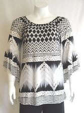 New Women's Plus Size Black White Pattern Tunic (Top) In Sizes 1X 2X 3X Made USA