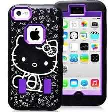 Purple Hello Kitty Case for At&t Apple iPhone 5C Strong Silicone Hard Cover