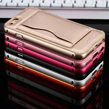 Luxury metal Aluminum Case Leather Back Bumper Cover For iPhone6 6S 4.7 Plus 5.5
