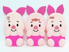 3D Cartoon Hot Pink Movable Ear Piglet Pig Silicone Soft Case For Various Phones