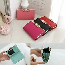 Genuine Leather Crystal Bow Medium Bifold Wallet Coin Purse Card Holder Women