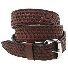 Made In USA 1 1/2 Rich Brown Bridle Leather Belt Basket Weave Embossing