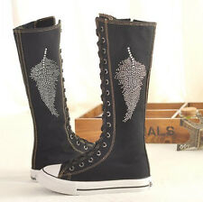 PUNK Style Women Girl Shoes Canvas Flat Tall Boots Zip Lace Up Knee High Sneaker