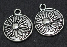 6/20/100pcs Tibetan Silver Round Sunflower Carving Charms Pendant Craft 24x20mm