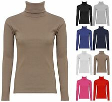 WOMENS LONG SLEEVES TURTLE NECK TOP LADIES RIBBED STRETCHY SLIM PLUS SIZE SHIRT