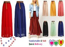 Womens Maxi Skirt Ladies Sheer Chiffon Gypsy Plain Long Maxi Dress Skirt 8 To14