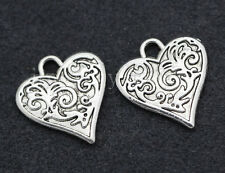 10/40/200pcs Tibetan Silver two-sided heart Jewelry Charms Pendant 16x15mm New