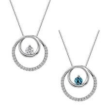 Sterling Silver 925 Blue Topaz or Lab-Created White Sapphire Circle Pendant