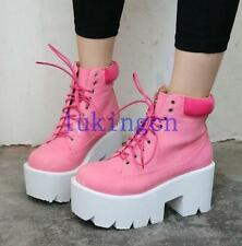 Punk Ladies Ankle Boots Thick High Heels Platform Beetle Lace Ups Creepers Shoes