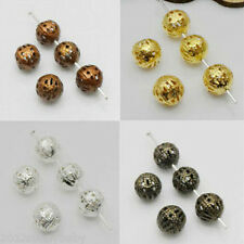 4 Colors Metal Charms Hollow Flower Ball Loose Beads Jewelry Findings 4/8/10mm
