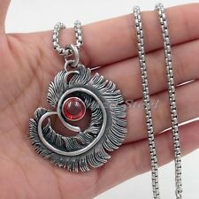 "Ruby Red CZ Feather 316L Stainless Steel Pendant Box Chain Necklace 18"" - 36"""