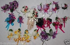 2PCS Orchids Corsage Boutonniere Set Many Colors Pick Wrist Pin On Corsage Style