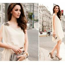 Fashion Women Solid Chiffon O-Neck Sleeveless Asymmetric Casual Mini Dress IR169