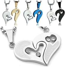 Set Couple Stainless Steel Jigsaw Heart Puzzle Pendant Necklace Chain Lover Gift