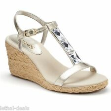 CHAPS Dela Womens Shoes Heels Silver Wedge Sandals Woven Espadrille Size 9.5 NEW
