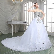 Womens Long Crystal Wedding Dress Rhinestone Beads White/Ivory Bride Dress Train