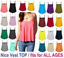 New Womens Ladies Cami Sleeveless Swing Vest Top Strappy Plain Flared Plus CmiSm