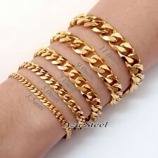 MEN'S Boy's 3.5~11mm Bright Gold Stainless Steel Bracelet Lobster Clasp 7~10""