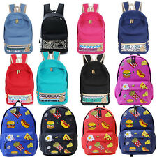 Unisex Women Men Backpack Canvas Shoulder School Bag Bookbag Travel Rucksack New
