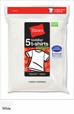 5 Pack Hanes Toddler Boys' Crew White Cotton Undershirts T-Shirts - Lot 1