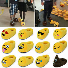 Mens Womens Emoji Expression Soft Stuffed Slippers Winter Warm Home Indoor Shoes