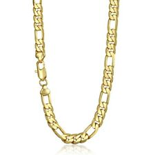 Fashion 5/6/9/10mm CUT FIGARO Yellow Gold Filled GF Necklace Boys Mens Chain