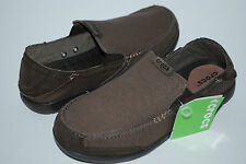 NWT CROCS WALU EXPRESS LOAFER SLIP ON MEN CANVAS 7 9 10 11 12 13 ESPRESSO BROWN