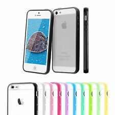 TPU Slim Bumper Case Clear Hard Frame Cover + LCD Guard For Apple iPhone 5 5s