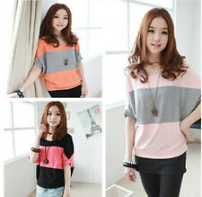 Fashion Women Lady Sweet Casual Striped Batwing Sleeve Loose Tops Blouse T-shirt