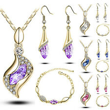 Crystal Gorgeous Waterdrop Dangle Earrings Bracelet Chain Necklace Jewelry Set