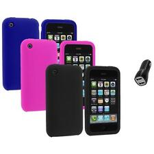 Color Silicone Rubber Gel Skin Case Cover+2.1A Charger for Apple iPhone 3G 3GS