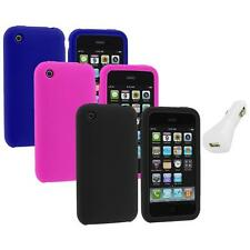 Color Silicone Rubber Gel Skin Case Cover+White Charger for Apple iPhone 3G 3GS
