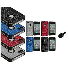 Brushed Metal Aluminum Robot Grid Hard Case Cover+Mini Stylus for iPhone 4 4G 4S