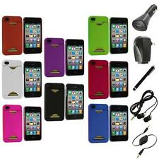 Credit Card ID Snap-On Rubberized Hard Case Cover+Accessories for iPhone 4S 4G 4