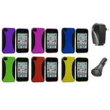 Color Hybrid Dual Flex Hard TPU Case Skin Cover+2X Chargers for iPhone 4 4S 4G
