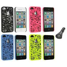 Color Lovely Carving Rose Flower Rear Hard Case+Car Charger for iPhone 4 4G 4S