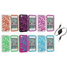 Color Hybrid Zebra Hard/Soft 2-Piece Case Cover+Aux Cable for iPhone 4 4G 4S