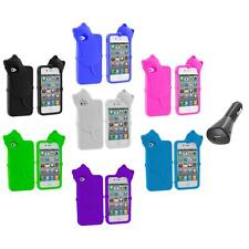 Cat Kitty Color Silicone Skin Case+Car Charger for iPhone 4 4S 4G Accessory