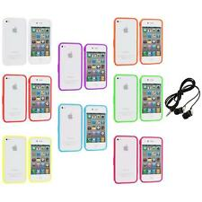 Bumper TPU Solid Jelly Color Rubber Skin Case+Headphones for iPhone 4 4S 4G